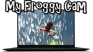 Picture of an African dwarf frog on a camera screen with text 'My Froggy Cam'